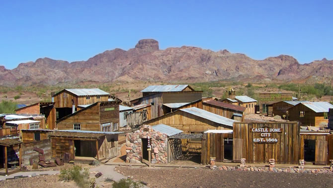 The mountain peaks in Kofa National Wildlife Refuge overlook the historic mining city of Castle Dome.