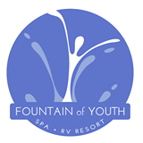Snowbirds come to be rejuvenated at the Fountain of Youth Spa RV Resort in Niland, California Logo