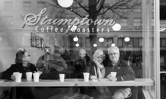 Riley and Karen in Stumptown Coffee Roasters, Portland, Oregon.
