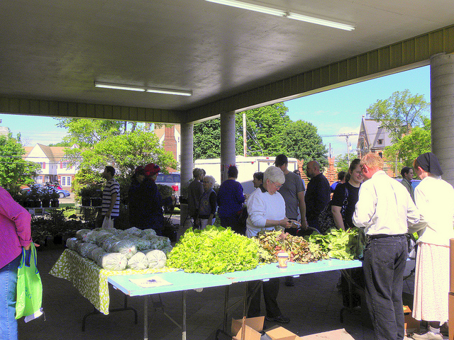 A vegetable stand filled with its wares, in Truro, Nova Scotia.