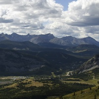 View of Turtle Mountain in the Crowsnest Pass, Alberta