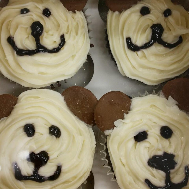 Cupcakes that are iced to look like little bear faces.
