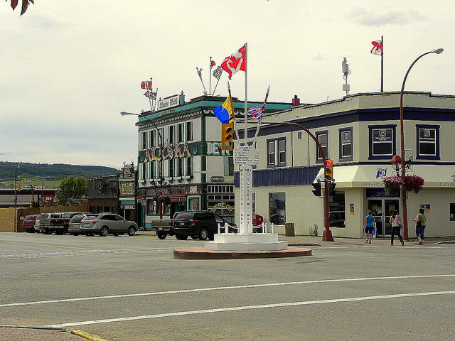 A photo of the downtown of Dawson Creek, B.C.