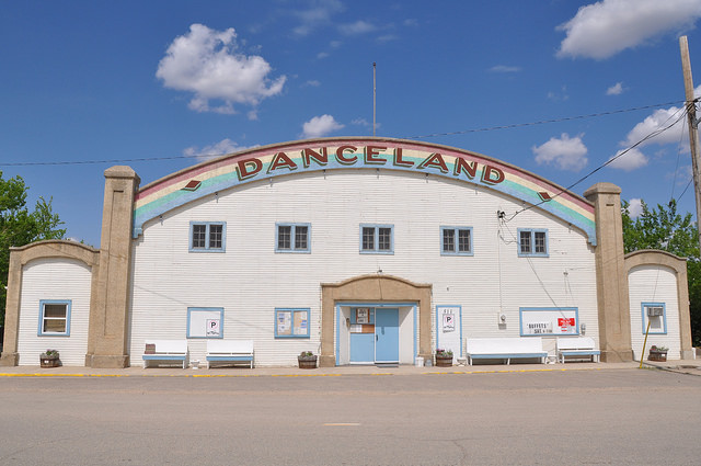 Photo of the outside of the Danceland building at Manitou Beach.