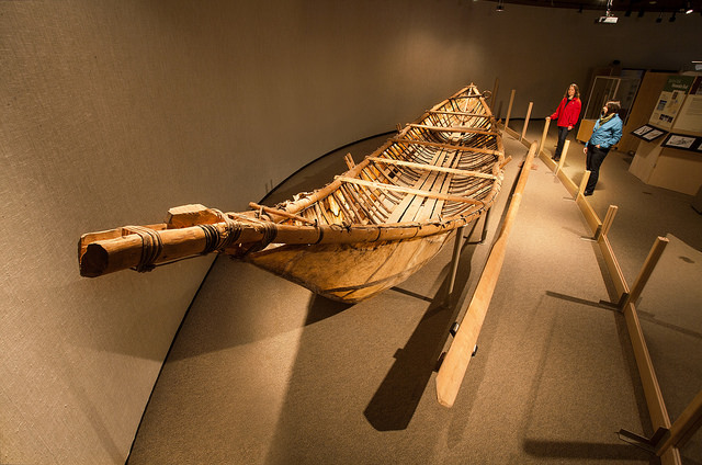 Mooseskin boat used to travel lakes and rivers in the North.