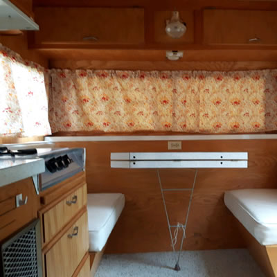 Interior of trailer, showing seating.
