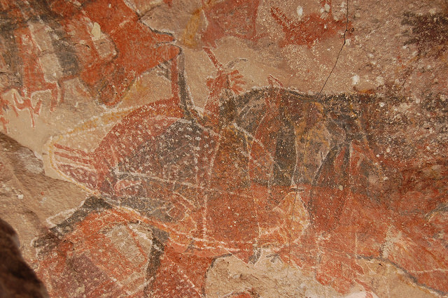 A cave painting of a sea turtle at Cuave Pintada at Sierra de San Francisco.