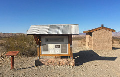 The welcome kiosk includes maps, historical information and brochures for a self-guided tour, and toilets are nearby.