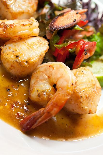 A  close up of a shrimp dish at Angler's Dining Room.