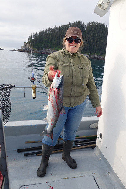Rebecca with King salmon, summer 2015.