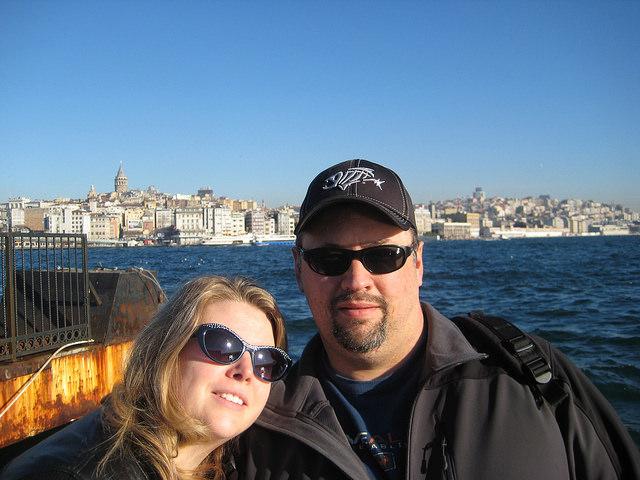 Ben and Rebecca Pazdernik in a selfie in Bosphorus Strait in Istanbul, 2015.