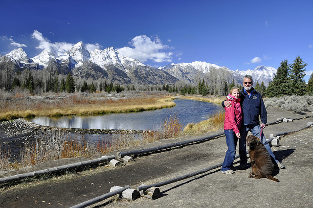 Wendy, Ron and Mickie in Grand Teton National Park, WY.