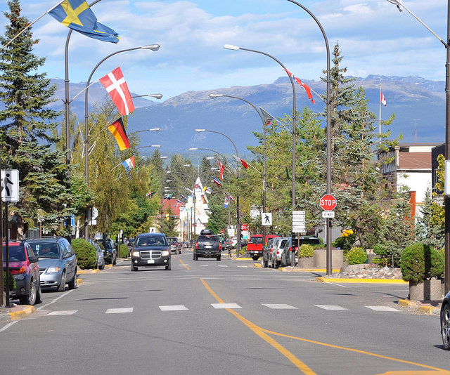 A downtown street scene of Smithers, B.C. in the summer.