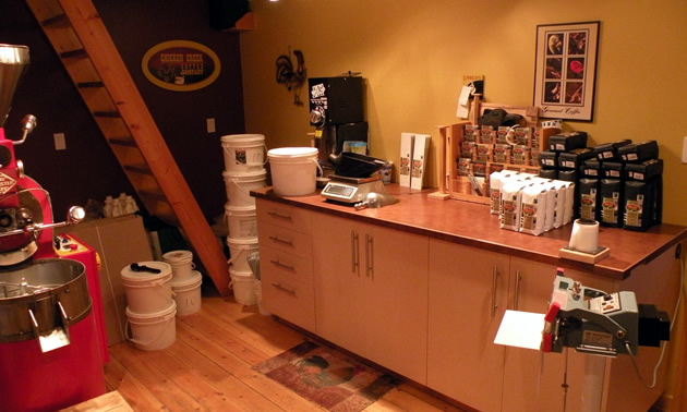 The inside of a small coffee roasting shop in Smithers.