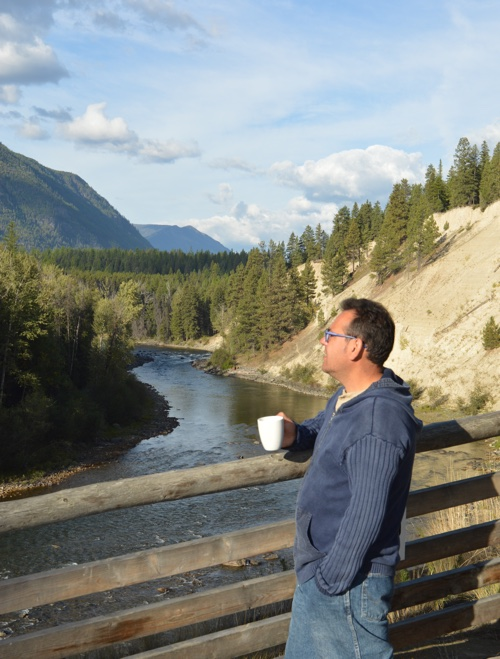 Jose Tomas Gonzalez having his cup of coffee overlooking the St. Mary's River.