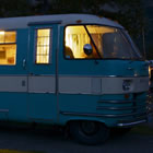 Evening picture of Myrtle, a vintage 1964 Travco Motorhome.