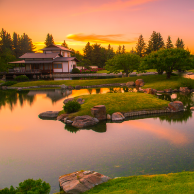 A beautiful pink sunset rests behind Nikka Yuko Japanese Gardens.