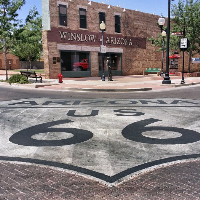 Standin' on the Corner Park is an iconic location along Route 66 in Winslow, Arizona.