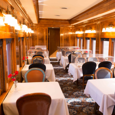The Argyle dining car is one of the standouts among the collection of train cars at the Museum of Rail Travel.