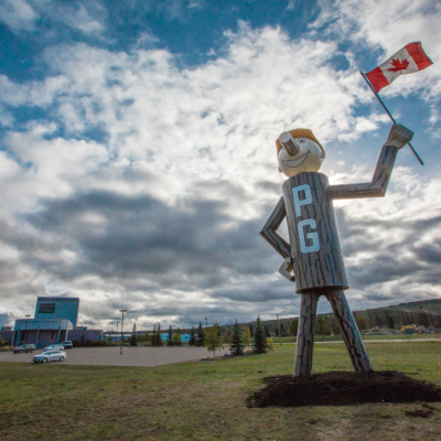 This iconic Prince George figure greets people at the junction of Highways 16 and 97.