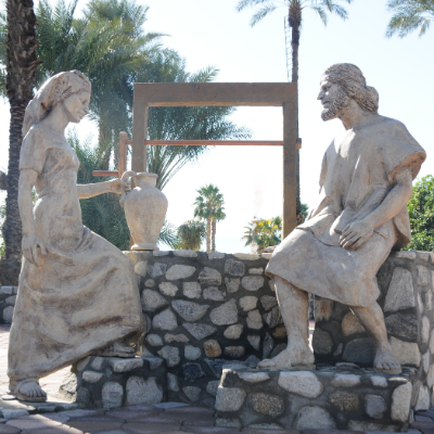 A hand-crafted statue depicts the life of Christ.