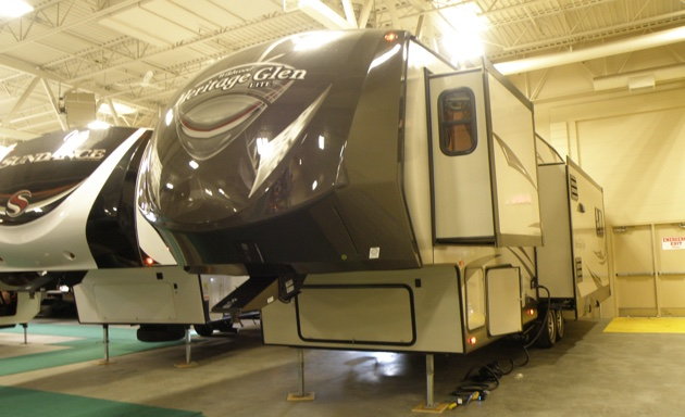 A fifth wheel displayed at the Lethbridge RV show.