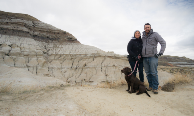 McCallum and Doolittle, and their chocolate lab, Bella, took time to enjoy Drumheller and check out the hoodoos.
