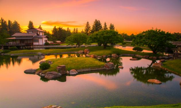 A beautiful pink sunset rests behind Nikka Yuko Japanese Gardens.