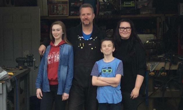 Barnyard Empire is a family business. (L to R) Regan, Adam, Evan and Misty Lee Schewe.
