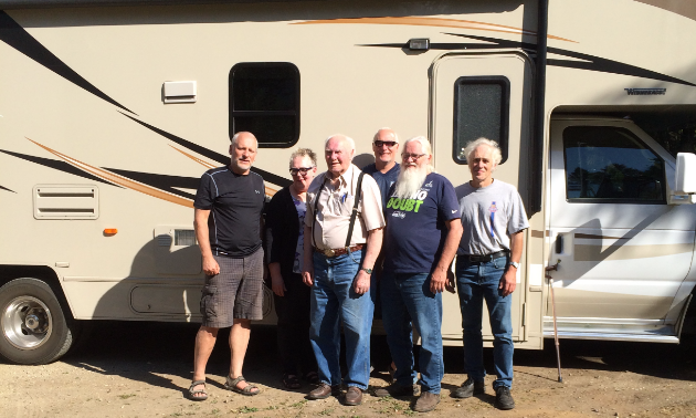 The Borns set out in a 31-foot Spirit rental RV for their grand adventure. (L to R) Bryan, Teresa, Jacob, Matt, John and David.