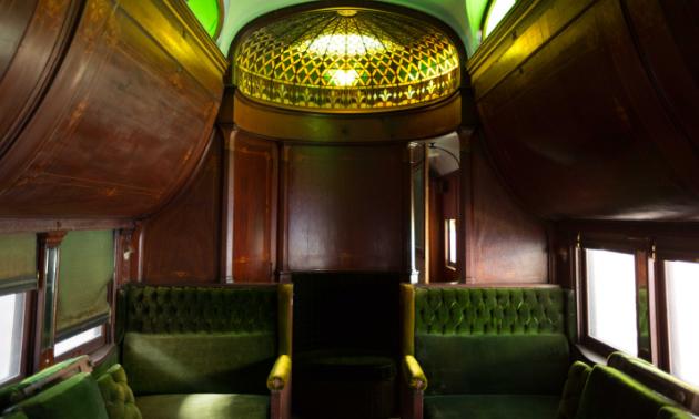 Inside a train car