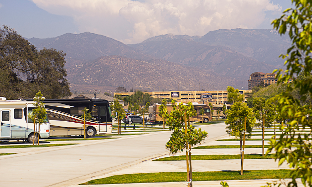 RVs park at the Pala RV Resort