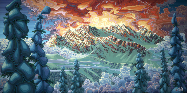 An acrylic painting of snow covered mountains.