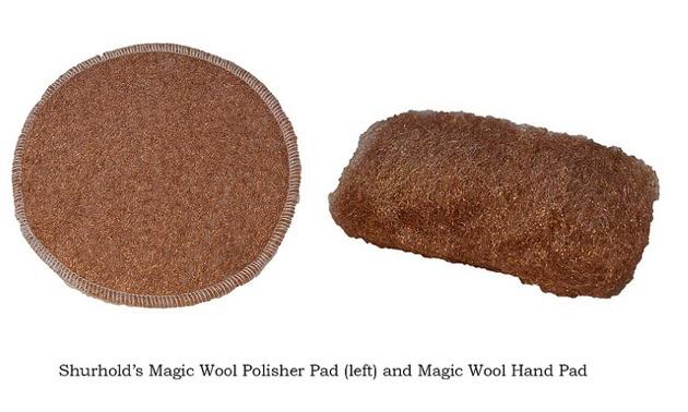 Shurhold's Magic Wool polisher pad and Magic Wool hand pad.
