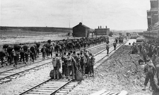 U.S. troops arrive in Dawson Creek, B.C., in March 1942