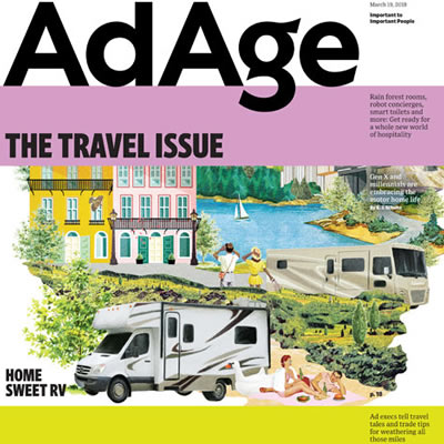 AdAge cover story, showing collage of RV-related graphics.