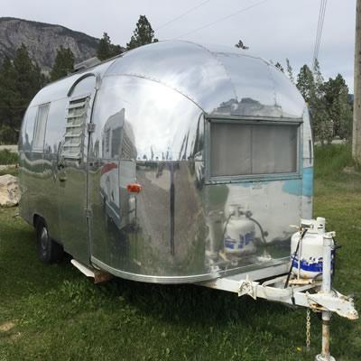 A shiny Airstream trailer.