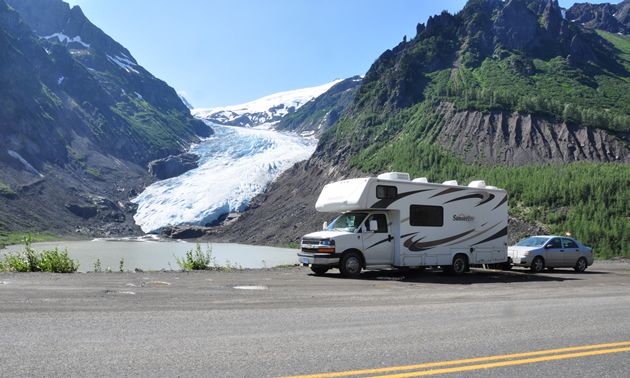 The Saumure's RV in front of a glacier near Stewart, B.C.