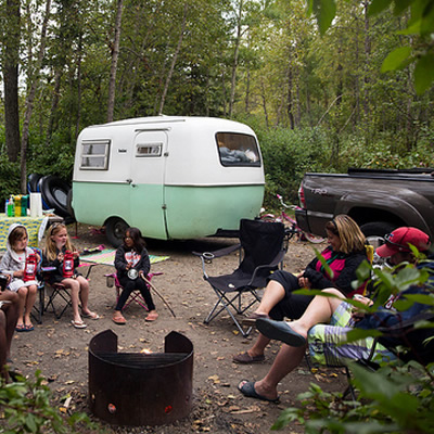 Group of people camping.