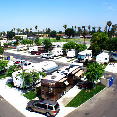 Overhead view of the Anaheim RV Park, near Disneyland in California.