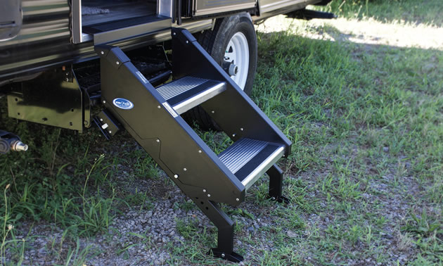 Adjustable feet on the StepAbove RV stairs give it a solid base.