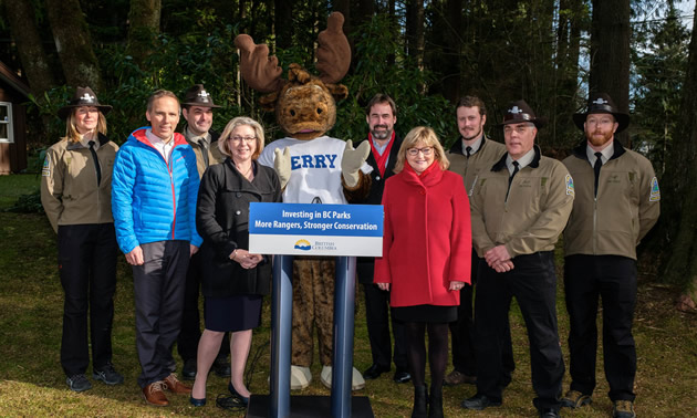 Press conference announcing funding for B.C. Parks.