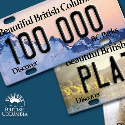 Picture of specialty BC licence plates.