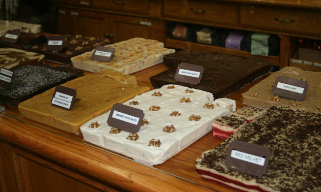 Fresh homemade fudge in different flavours at Bates Nut Farm