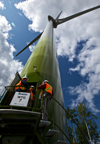 A wind turbine at the wind park on Bear Mountain by Dawson Creek.