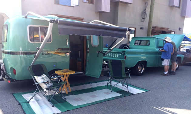 Fully restored 1979 Boler trailer and 1962 Chevy pickup truck