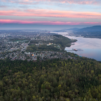 A bird's-eye-view of the city of Burnaby, B.C.
