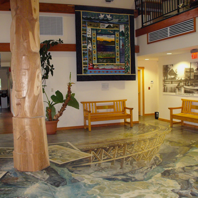 The 3-D floor mural in the Christina Lake Visitor Centre captures the artistry that is prevalent in the community and the beauty that is prevalent in the surrounding area