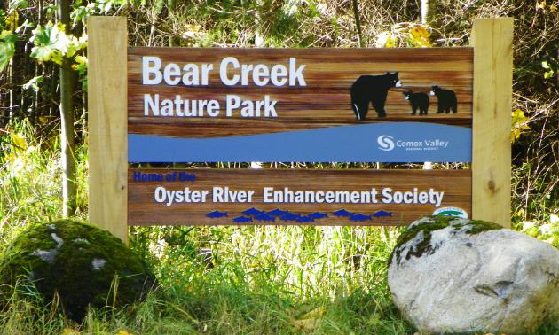 Bear Creek Nature Park sign.