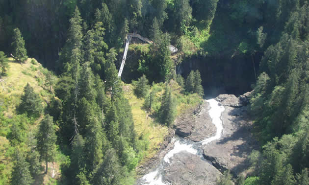 The Elk Falls Suspension Bridge over Elk Falls Canyon offers incredible views of Elk Falls and headwaters of the world famous Campbell River.